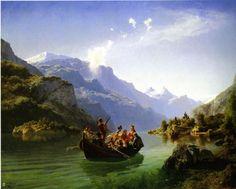 Wedding Paintings. Adolph Tidemand, Hans Gude - Bridal journey in Hardanger  ( Свадебное путешествие)