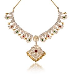 Splendid And Mind Blowing Diamond Mango Haram For Grand Occasions And Studded With Small Rubies And Emeralds.