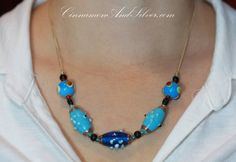 Funky Bumpy Turquoise Blue Lampwork Glass Beads Necklace, Blue Beaded Lampwork Statement Necklace by CinnamonandSilver on Etsy