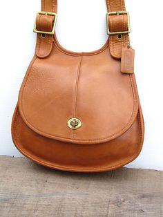 23612f932f2d Vintage Coach Bag // Coach Saddle Crescent Bag in Tan Leather Coach Saddle  Bag,