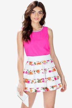 Floral Flare Elastic Skirt