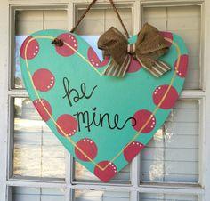 "Fun Heart Wooden Door Hanger, ""be mine!"" perfect for Valentine's Day @ arhjohnston via Etsy."