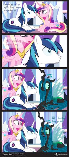 Comic Block: Sweet Talk by on deviantART *Oh. *sad squeak* I feel bad for Crysalis.* (or however u spell her name) My Little Pony Comic, My Little Pony Drawing, My Little Pony Pictures, Mlp Comics, Funny Comics, Princess Cadence, Princess Celestia, Mlp Memes, Queen Chrysalis