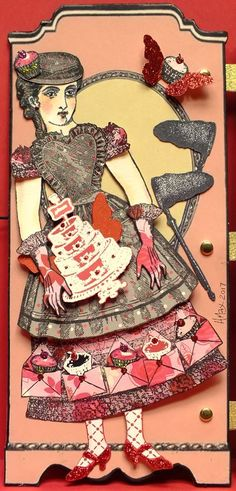 Wardrobe front panel detail, Flying Cake Girl, artist Heather Maxwell working with Character Constructions