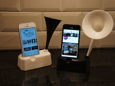 Iphone 5 and 5S stand with speaker / horn by mikie10 - Thingiverse