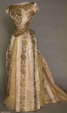 gold brocade ball gown, 1880 - 1885