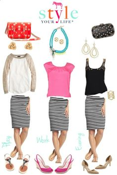 striped skirt outfit ideas... I have a skirt like this but a tad bit shorter