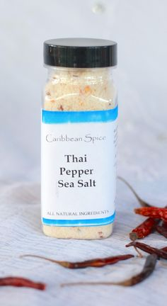Fine Caribbean Sea Salt mixed the intense heat of Thai Chili Peppers Preservative and Gluten Free