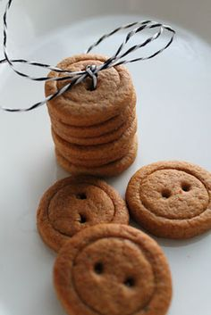 Another version of button cookes. These are gingerbread.  I love the way these are stacked together and tied.