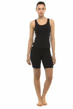 Private Island Hawaii UV Women Rash Guard Skinny Shorts Pants Black Large