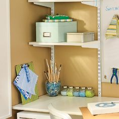 Solve your craft storage problems by placing hard-to-store items in a glass container with vase filler.