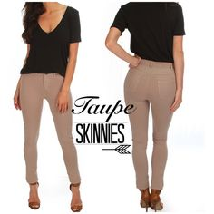 """Taupe super soft skinny pants My supplier only sent me large and xlarge. Working on ordering smaller sizes. ☺️Beautiful shade of taupe skinny pants. Super soft. 95% cotton 5% spandex. Goes with so many different tops. Dress them up or down. All measurements are taken laying flat across. Large: waist is 14.5"""" Xlarge: waist is 15"""". Also available in, grey, black and turquoise. CupofTea Pants Skinny"""