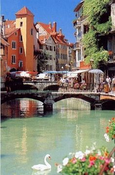 Beautiful, Magical.....Annecy - France | Located in the French Alps on Lake Annecy this town is quaint, charming and beautiful. Its small medieval section is laced with canals and flower covered bridges.