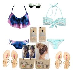 """Bff beach wear"" by madyf1010 ❤ liked on Polyvore featuring Straw Studios, Lilly Pulitzer, Agent 18 and Revo"