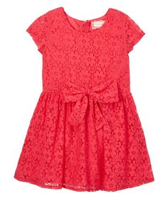 Coral Lace Cap Sleeve Dress - Girls