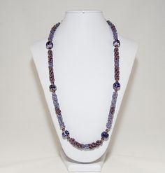 Amethyst purple bead-woven lampwork necklace  by Dinglefritz, $55.00 USD