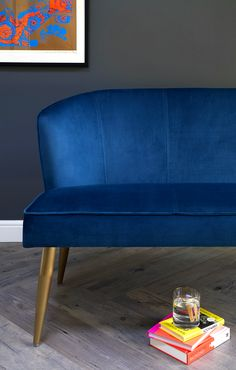 Contemporary three seater velvet dining bench with backrest. This designer bench has a smooth velvet upholstery and trendy, tapered brushed brass finished legs. Velvet Furniture, Dining Furniture, Dining Bench, Dining Chairs, Simple Colors, Jewel Tones, Blue Velvet, Love Seat, Upholstery