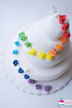 Rainbow Roses Wedding Cake Wedding Cakes Pinterest