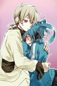 Konoha & Ene   Kagerou Project Konoha: *hugs Ene* Ene: *blush* Eh!?!?!