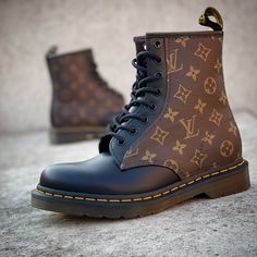 Doc Martens customized with authentic LV Canvas Dr Martens Outfit, Doc Martens Boots, Lv Boots, Lace Up Boots, Custom Sneakers, Custom Shoes, Galaxy Converse, Converse Chuck, Converse Style