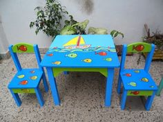 sillas pintadas de colores niños - Buscar con Google Painted Chairs, Hand Painted Furniture, Paint Furniture, Kids Furniture, Furniture Makeover, Painted Teacher Chair, Painting Teacher, Sticks Furniture, Mexican Furniture