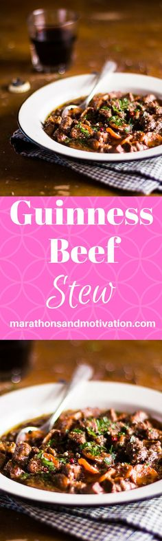 Guinness Beef Stew: A perfect meal to celebrate St. Patrick's Day, made with Beef, Guinness Beer, Carrots, Peas, Mushrooms, and Potatoes