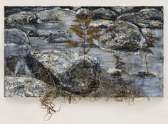 Anselm Kiefer (German, b. 1945), Geheimnis der Farne [Secret of the Ferns]. Oil, emulsion, acrylic, chalk, branches, resin coated fern, plaster, shellac, clay, barbed wire on canvas