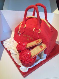 Handbag cake and cupcake high heel shoes