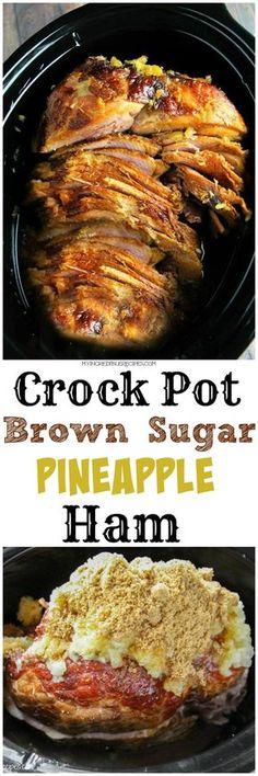 Crock Pot Brown Sugar Pineapple Ham Recipes at Recipes Family Crockpot Dishes, Crock Pot Slow Cooker, Crock Pot Cooking, Pork Dishes, Slow Cooker Recipes, Cooking Recipes, Crock Pot Ham, Crockpot Meals, Crock Pots