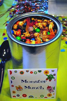 Idea for Halloween snack/favor.or a monster party! Monster Party, Monster Munch, Monster Birthday Parties, First Birthday Parties, First Birthdays, Birthday Ideas, 2nd Birthday, Monster Snacks, Happy Birthday