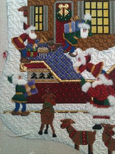 Steph's stitching: September Don't you just love those elves? Needlepoint Stitches, Needlepoint Canvases, Needlework, Needlepoint Christmas Stockings, Bargello, Christmas Cross, Cross Stitch Embroidery, Quilts, Stitching