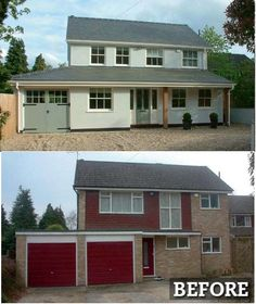 Exterior Makeover. Completely transformed with render, new windows and porch