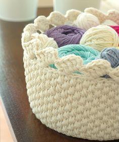 "Handmade Lace Crochet Basket Storage Bin - Off White - Round 7.5"" / 19cm via Etsy."