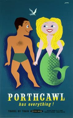 Vintage Railway Travel Poster - Porthcawl - Mermaid - UK.