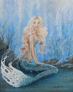 Original mermaid wall art mermaid print on canvas by NancyQart