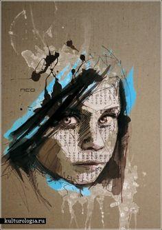 Traditional Art by Florian Nicolle Abstract Portrait, Portrait Art, Portraits, Art Sketchbook, Medium Art, Traditional Art, Mixed Media Art, Altered Art, Collage Art