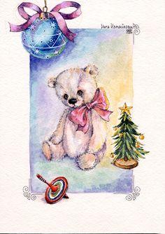 bears dolls toys watercolor postcards открытки куклы мишки тедди акварель по мотивам работ Варвары Демидкиной