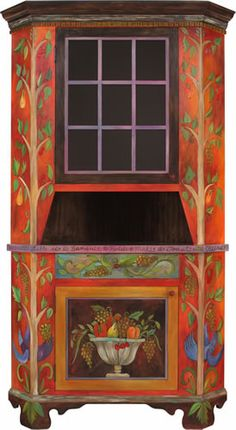 """Corner Cabinet by Sticks, Dimensions: 32""""W 87.5'H, Hand Painted."""