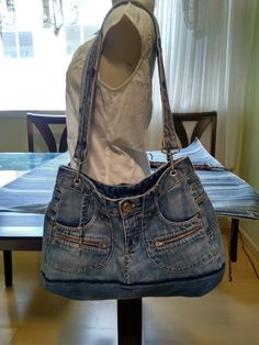 Thrift Clothes, Shoe Makeover, Balenciaga City Bag, Refashion, Bag Making, Thrifting, Denim Jeans, Totes, Recycling