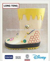 high quality yellow bee print kids cute rain boots supplier