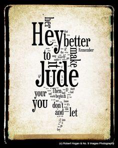 Hey Jude Lyrics - The Beatles Word Art - Word Cloud Art 8x10 Woodblock Print - Gift Idea. $30.00, via Etsy.