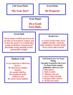 Cub  Motto mottos, laws, etc. all on one page!  Great for Webelos who need to know all of these