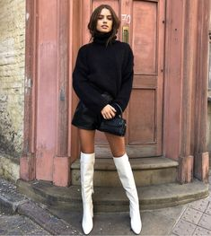Winter Boots Outfits, Winter Fashion Outfits, Look Fashion, Fall Outfits, Autumn Fashion, Womens Fashion, Knee High Boots Outfit Party, Classy Outfits, Trendy Outfits