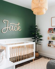 We're going BOLD. 👊 One tip: if you're doing a bold or dark wall in the nursery, look for ways to brighten the space whether that be a light-colored rug, light wood furniture and accents such as lighting. 📸: @mrchrisregan Baby Nursery Decor, Project Nursery, Nursery Furniture, Nursery Ideas, Wood Furniture, Room Ideas, Baby Room Design, Nursery Design, Nursery Layout
