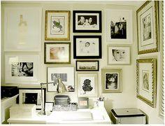 Monochromatic gallery wall.  Black + white + metallics.
