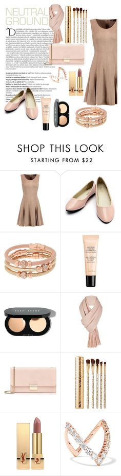 """Neutral"" by nellycrowe ❤ liked on Polyvore featuring Balmain, Halston Heritage, Henri Bendel, Guerlain, Bobbi Brown Cosmetics, Free People, Furla, Sephora Collection, Yves Saint Laurent and Anita Ko"