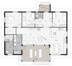 Aurinkolahti / Kontio Small House Plans, House Floor Plans, House In The Woods, My House, Bungalow, Construction, House Layouts, Glass House, My Dream Home