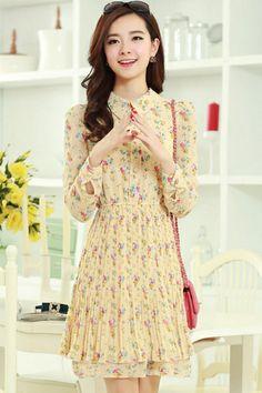 Floral Chiffon Camisa Vestidos