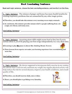 Worksheet | Best Concluding Sentence | Read each topic sentence, choose the best concluding sentence, and rewrite it on the lines.