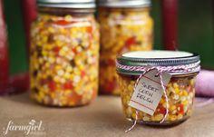 sweet corn refrigerator relish - afarmgirlsdabbles.com #preservation #corn #sweetcorn #relish #easy